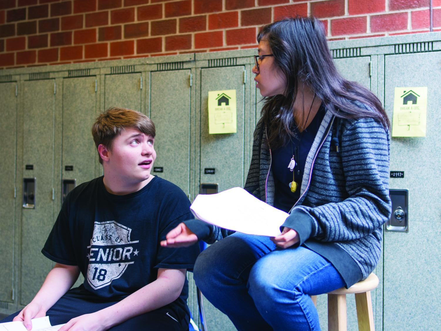 Spilling the Tea in Drama Class: Seniors Elizabeth Hill and Ryan Furlong discuss their piece. Students practiced every day after school for their pieces.